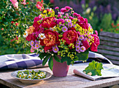 Bouquet from Paeonia, Erigeron, Alchemilla