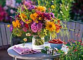 Bouquet from Erigeron, Monarda, Heliopsis