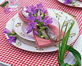 Table decoration with bluebells