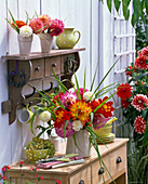Dahlia and Miscanthus bouquet in pitcher, peel