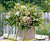 Lush bouquet in basket