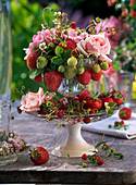 Fragaria (Strawberries, Wild Strawberries) and Rosa (Rose) in Etagere