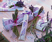 Gift wrapping – wrap gift in fabric and lavandula