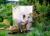Asian seat in the garden with sunshades