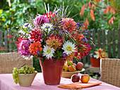 Late summer bouquet with dahlia, aster