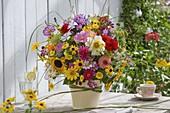 Late summer bouquet with dahlia, Cosmos (garden cosmos)
