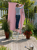Attach fabric as privacy and sunscreen