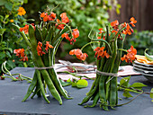 Table decoration with fire beans