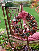 Hydrangea and rose hip wreath