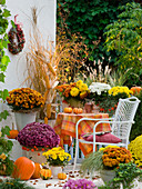 Autumn balcony with chrysanthemum