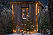Christmas decorated summer house