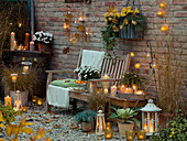 Evening terrace with lanterns and candles