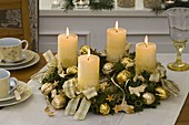White-gold Advent wreath from Chamaecyparis