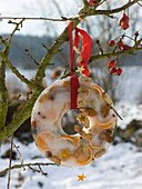Homemade winter decoration orange slices and nuts frozen