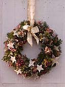 Christmas door wreath with Pseudotsuga (Douglas fir)