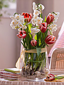 Spring Tulipa (tulip) and Narcissus 'Bridal Crown' bouquet
