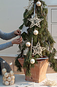 Self-made Christmas tree with cable ties