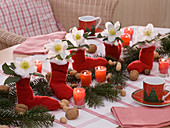 Christmas table decoration from Helleborus (Christmas rose)