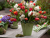 Spring bouquet of Narcissus 'Bridal Crown', Tulipa