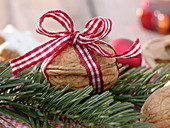 Moss-filled bowl of Juglans (walnut) as a gift wrap