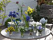 Spring blooms in small glasses