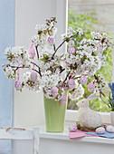 Prunus (cherry) flowers as an Easter bouquet