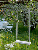 Swing hung on branch of flowering malus (apple tree)