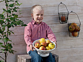 Boy with a colander with apples 'Cox Orange'