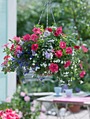 Plant hanging basket with balcony flowers