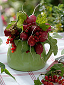 Bouquet of Raphanus sativus (Radishes), Ribes (Currants)