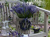 Bouquet of freshly harvested lavandula in basket planter