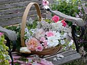 Basket of freshly cut medicinal and tea herbs