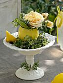 Hollowed lemons as mini vases