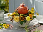 Late summer bouquet with pumpkin