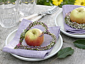 Heather heart and apple as napkin deco