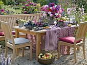 Thanksgiving buffet in the late summer garden