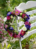 Hanging summer asters wreath