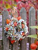 Hanging hydrangeas and lantern flowers wreath