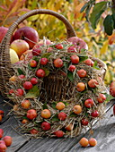 Hay wreath covered with ornamental apples