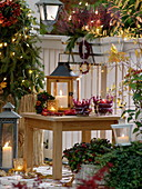Autumn balcony with lanterns, fairy lights, lanterns, balcony box