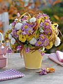 Autumn bouquet of chrysanthemum and symphoricarpos