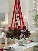 Mixed Advent wreath from Ilex aquifolium, Abies