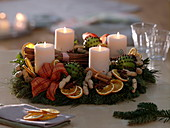 Scented Advent wreath from Abies procera, Buxus, Pinus