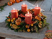 Scented Advent wreath of mixed coniferous green and Ilex