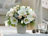 White Bouquet with Hippeastrum (Amaryllis), Rosa (Rose)