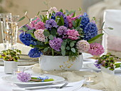 New Year's table decoration with hyacinths