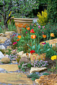 Dry CREEK BED with CERAMIC POTS by KEEYLA MEADOWS PLANTED with Orange TULIPS