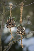 Homemade bird food bells