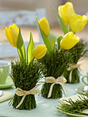 Table decoration with yellow tulips and blueberry branches