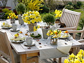 Daffodil Easter table decoration on the terrace